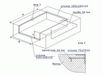 Схема подготовки приямка и установки закладных элементов для использования с обычными автомобилями