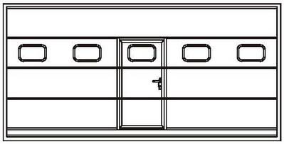 Расположение калитки с врезными окнами по центру промышленных ворот