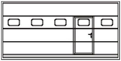 Расположение калитки с врезными окнами в полотне промышленных ворот ассиметрично