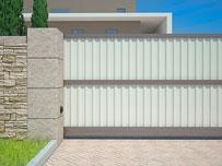 Алюминиевые откатные ворота с зашивкой профлистом